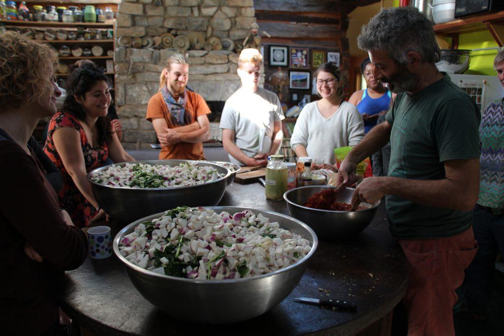 Sandor Katz teaches kimchi at a fermentation workshop in his kitchen near DeKalb County, TN.