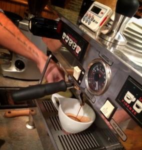 Espresso in progress at Remedy Coffee.