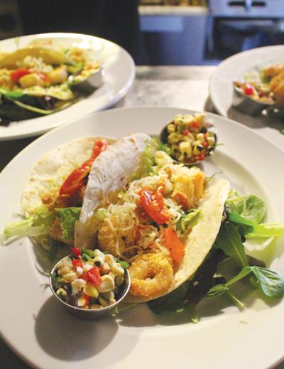 Popcorn shrimp tacos.